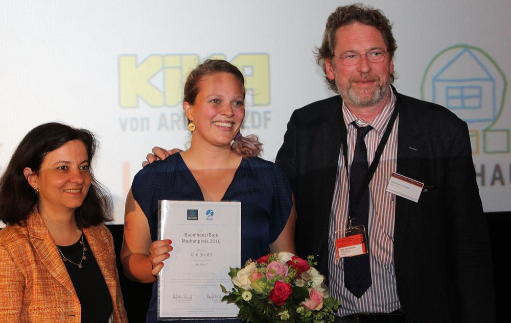 From left to right: Paula Peretti, Kim Strobl, Bodo Horn-Rumold.   Foto: Akademie für Kindermedien