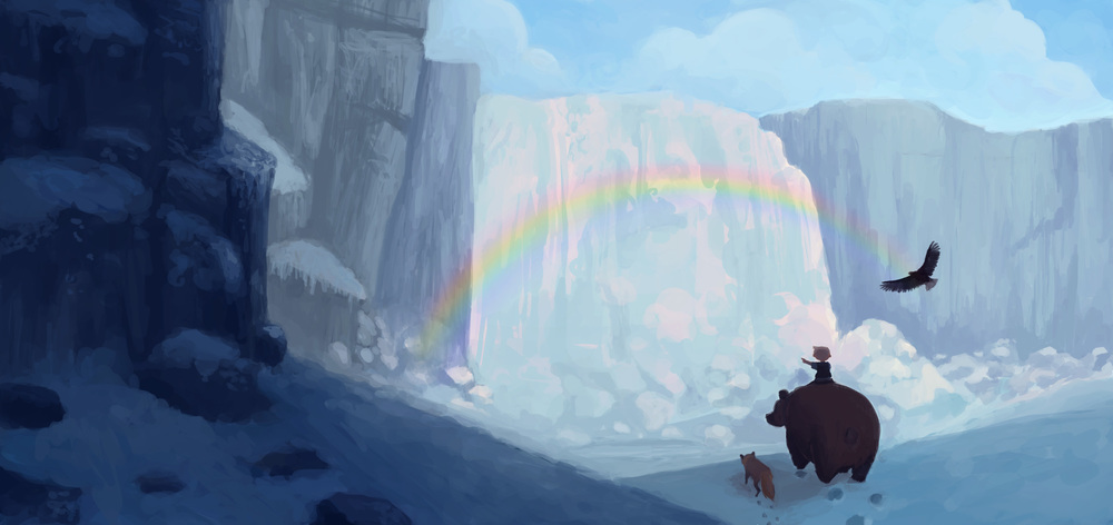 """Odd & the Frost Giants - """"At the Waterfall"""" - Concept Sketch"""