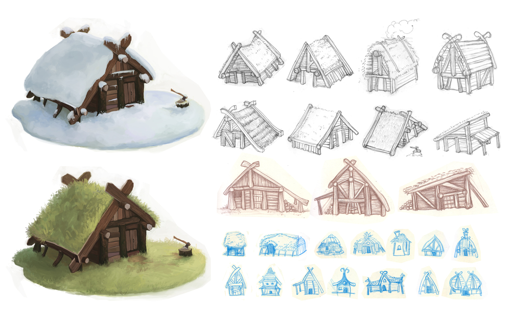 Odd & the Frost Giants - House Sketches - Odd's Cabin