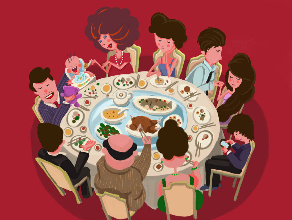 'Awkward Dinner Party' - Illustration Exercise