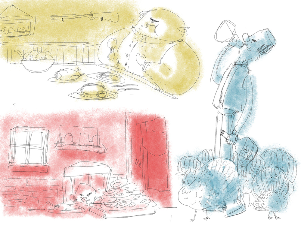 Fantastic Mr. Fox - Farmers Eating Sketches