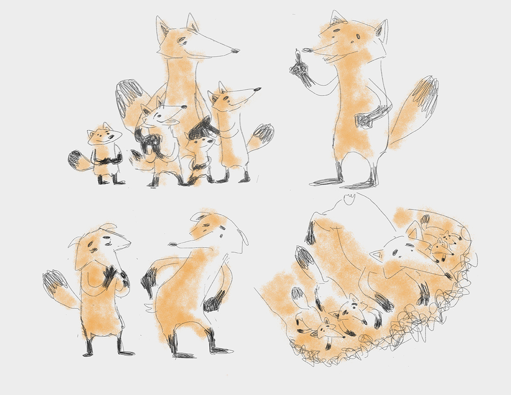 Fantastic Mr. Fox - Fox Family Sketches
