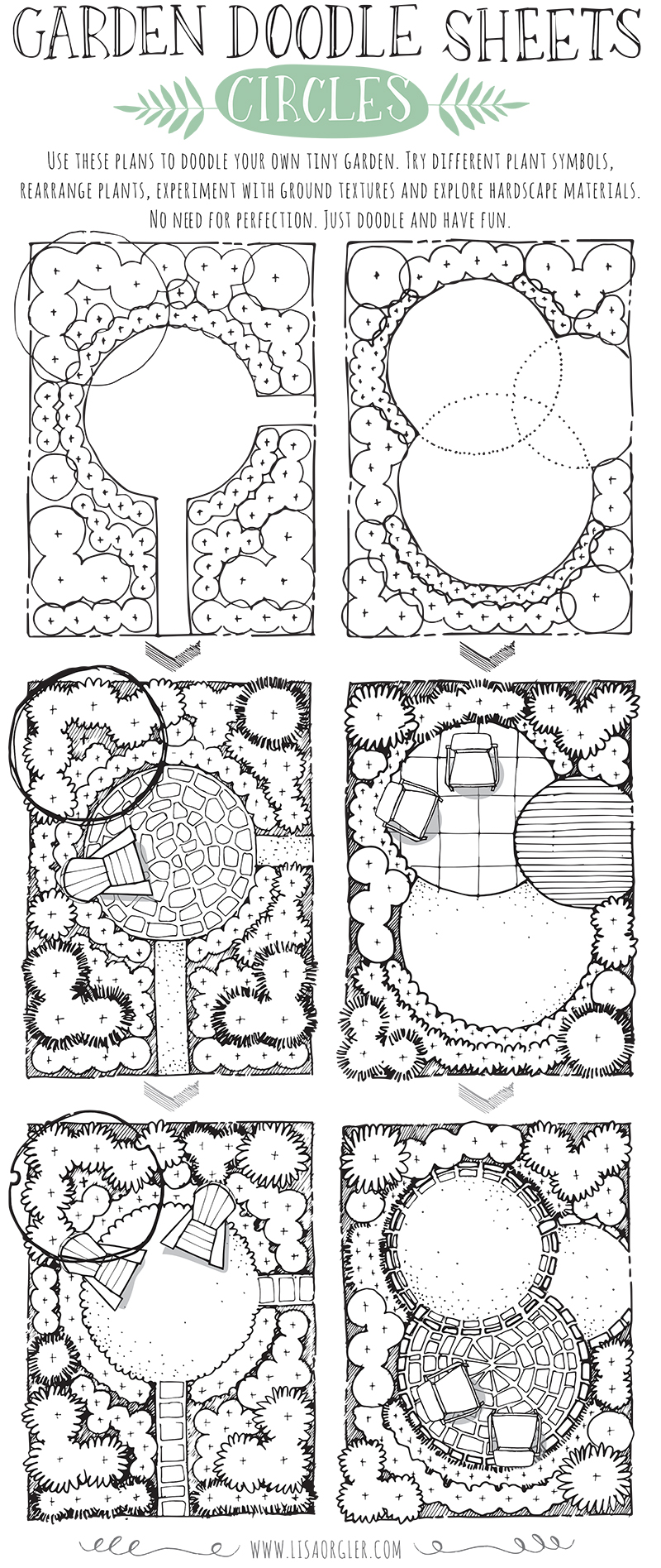 both plans incorporate the circle as the main structure how would you create a tiny garden with a circle theme click on the image below to download a pdf