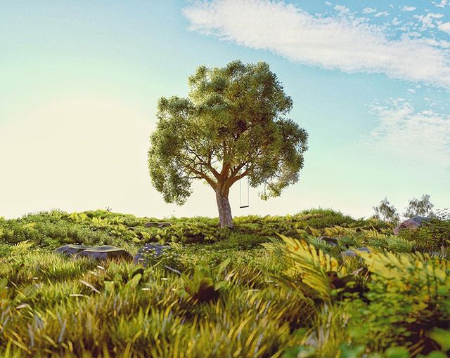 Yearning for summer . . . . #Cinema4d #c4d #maxon #3d #render #Photoshop #adobe #graphics #Still #Motiondesign #motiondesigner #Octane #otoy #meadow #tree #lonetree #summer #sun #warm #calm #nice #nostalgia #field #foliage #cool #stylised #realism