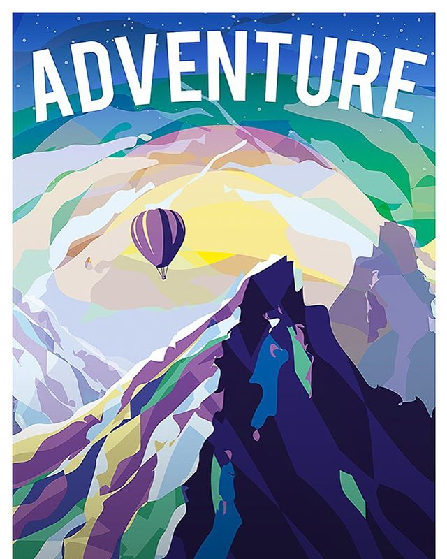 A poster I made for fun a couple of years ago! . . . . #Photoshop #adobe #graphics #Still #poster #art #vector #illustrator #flat #2d #balloon #mountain #adventure #illustration #illustrated #oldwork #oldies #flat #stylised #colourful #colorful #style #unique #vintage