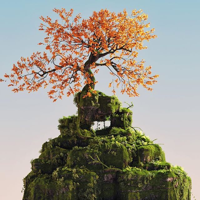 Mossy . . . . #Cinema4d #c4d #maxon #3d #render #Photoshop #adobe #graphics #Still #Motiondesign #motiondesigner #Octane #otoy #moss #mossy #foliage #tree #forester #dailyrender #researchanddevelopment #green #minimalist #rock #geology #texture #calm #cool #daily #process