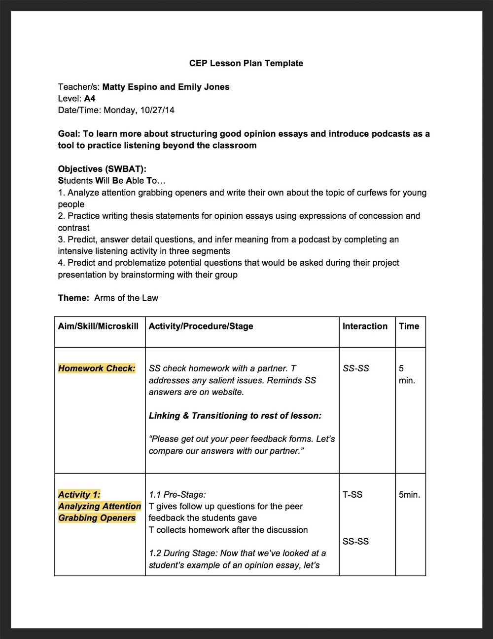 detailed lesson plan essay M b s b | 1 a detailed lesson plan in english i objectives at the end of the lesson, 100% of the students with 75% level of proficiency shall be able to: a w.