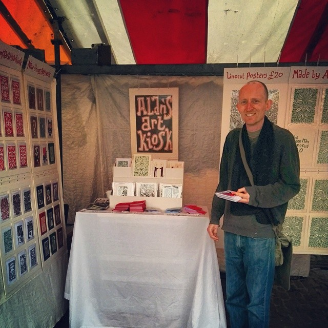 Part of Alan's Art Kiosk, showing some of his handmade card and print displays at his stall in Cambridge market. Visit him there every Wednesday!