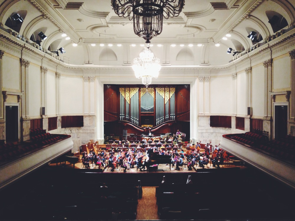 The Bard Conservatory Orchestra on stage at the Polish National Philharmonic