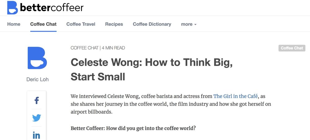 Feature: Better Coffeer - Celeste Wong: How to Think Big, Start Small