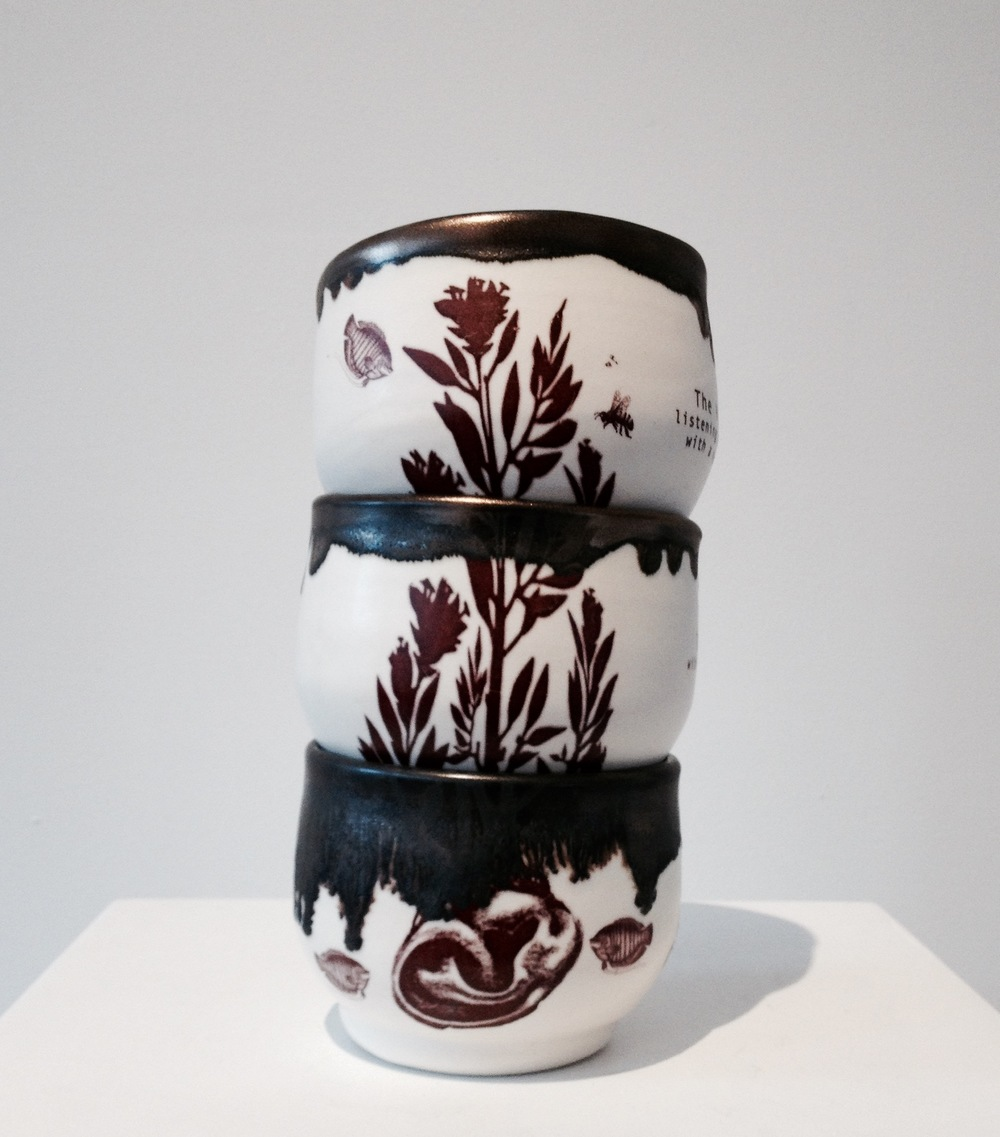 Porcelain cups with poetry by Ruth Reese, 2015