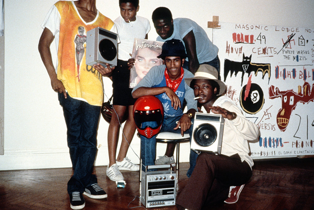 Street artists Kool Koor, A-One, Toxic and friends around the opening of Paige Powell's show in her apartment on West 81st Street. (1983)