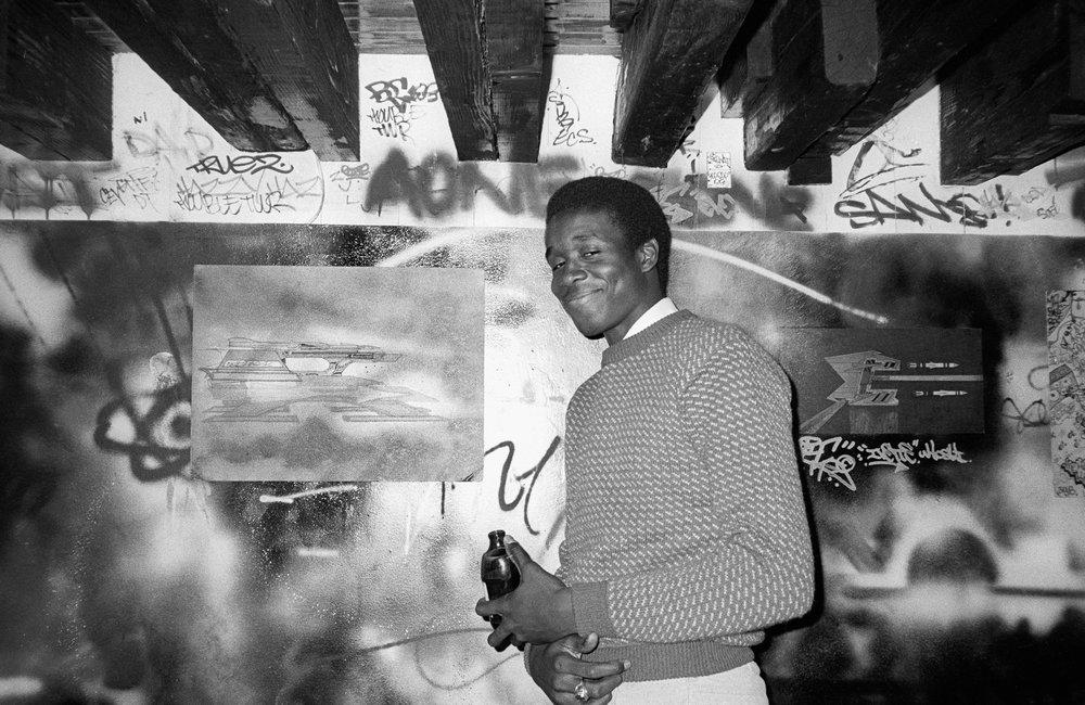 Street artist Kool Koor at Fashion Moda. (1982)