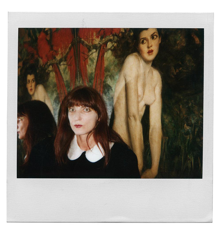 "Art critic Edit DeAk at Café des Artistes, 1 West 67th Street, following a photo shoot for Tama Janowitz's book, ""A Cannibal in Manhattan"". (1986)"