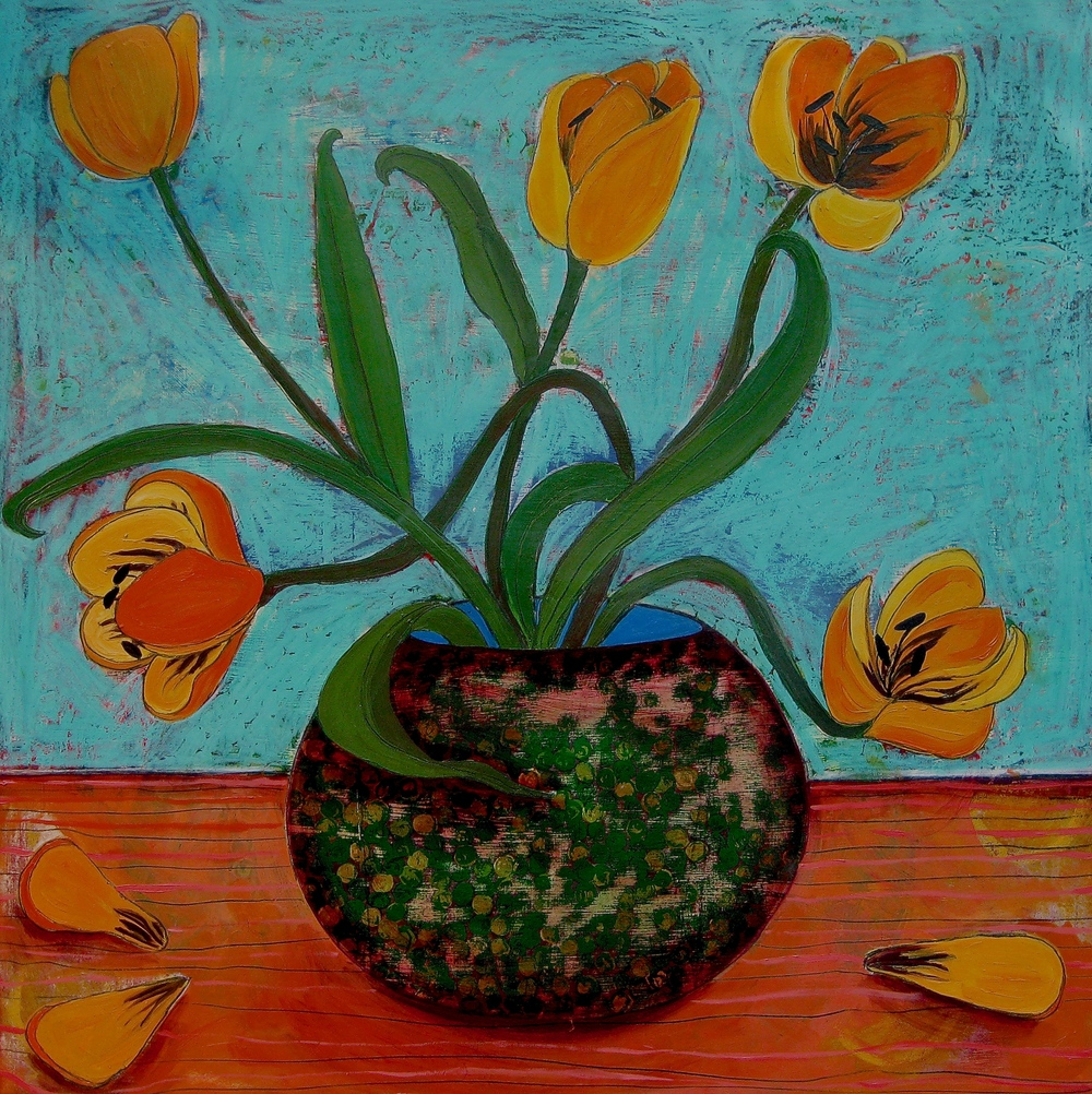 "Yellow Tulips. oil on wood, 24"" x 24"""