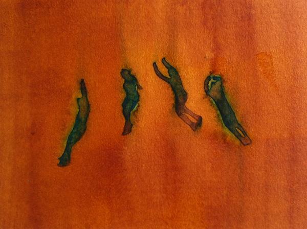 Flying Figures 2014,  ink on board, 14 x 18 cm