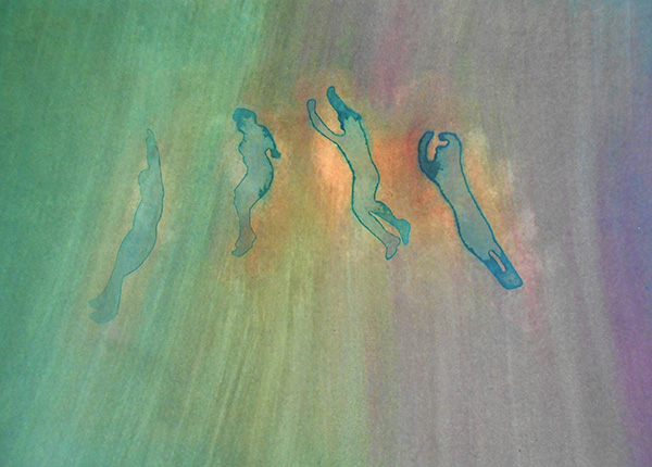 Flying Figures IV 2015,  ink on board, 16 x 21 cm