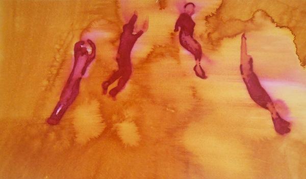 Flying Figures V,  ink on board, 28 x 41 cm