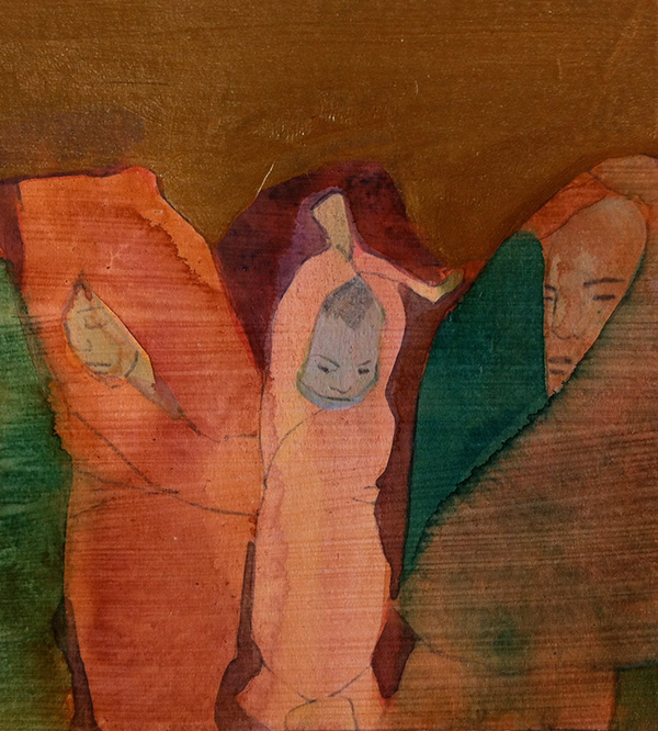 Mother and Child 2014,  mixed media on wood panel, 15 x 14 cm