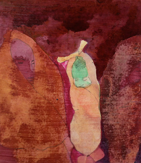 Mother and Child II 2014,   mixed media on wood panel  , 15 x 14 cm