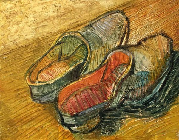 Shoes,  oil on gold leaf on panel 18x23cm    sold