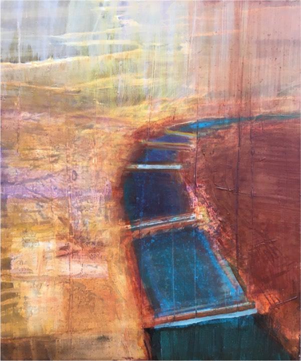 river 6 2017,  oil on board, 30 x 25.5cm