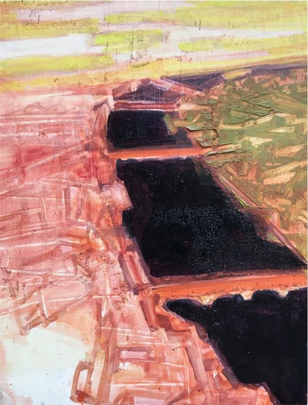 river 1 2017, oil on board, 23 x 18cm