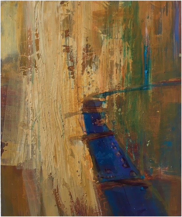 river 22, oil and gold leaf on panel, 30 x 25.5cm sold