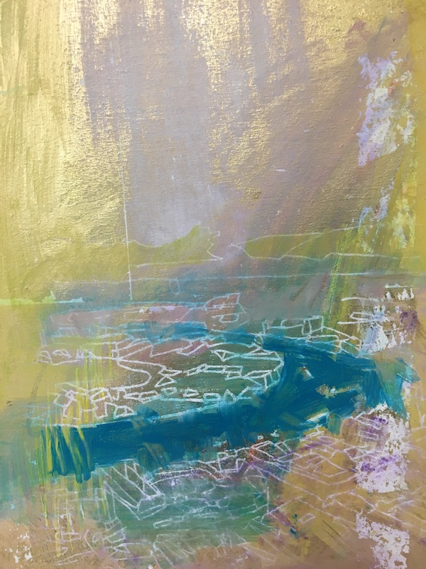 river running II , oil and gold leaf on panel, 29 x 22cm  sold