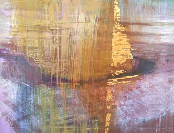 transcendent 2018 , oil and gold leaf on panel, 23 x 30cm  sold