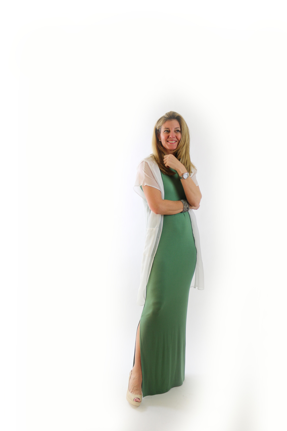 Karen in Modal Maxi, Soft Olive; and Long Swan Hoodie, White