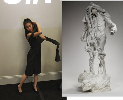 Shi-Lin wears Camilla Olson cage dress in 4-ply silk as she interprets Camille Claudel's Clotho.