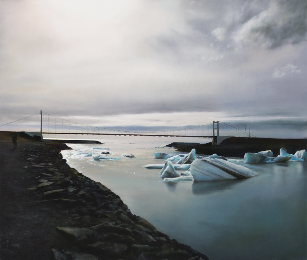 "glacier lagoon   30"" x 40""  oil on canvas  2014"