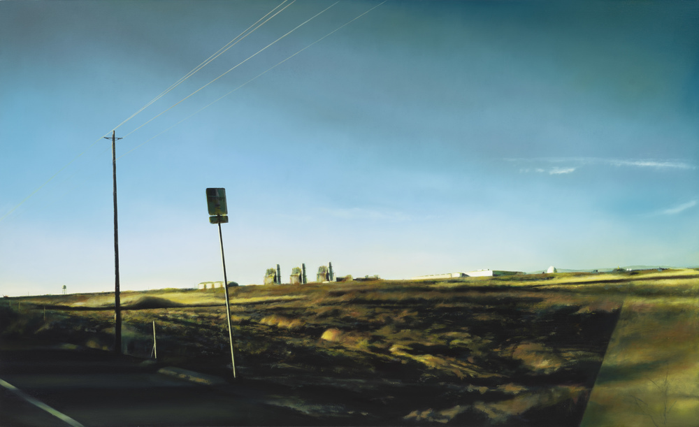 "power plants   34"" x 56""  oil on canvas  2012"