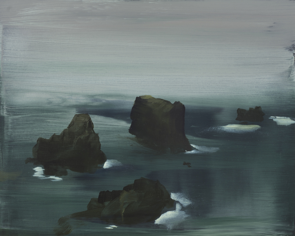 "sea stacks study   16"" x 20""  oil on panel  2013"
