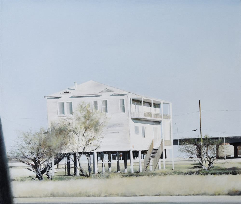 "house on stilts   •  34"" x 40""  oil on canvas  2011"