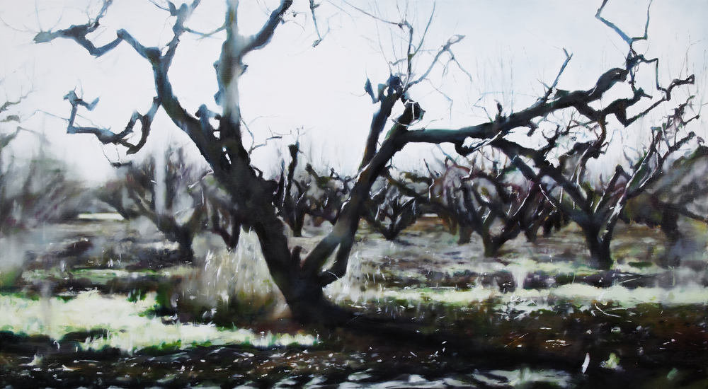 "trees   •  28"" x 50""  oil on canvas  2011"
