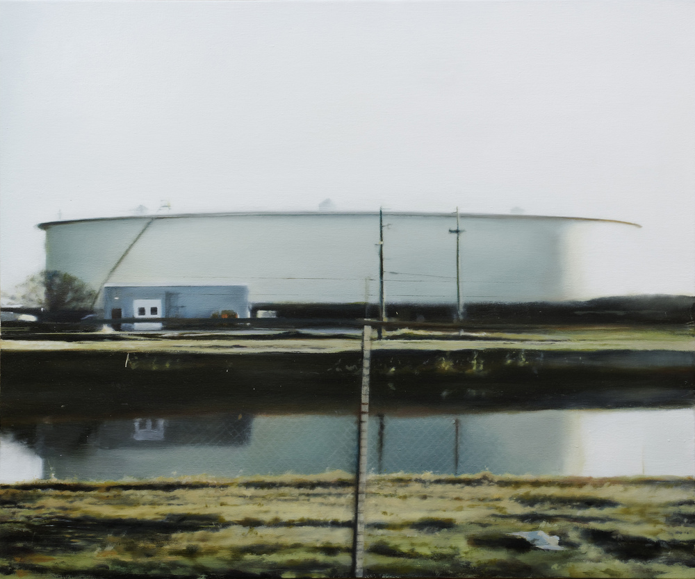 "tank reflection   •  30"" x 36""  oil on canvas  2011"
