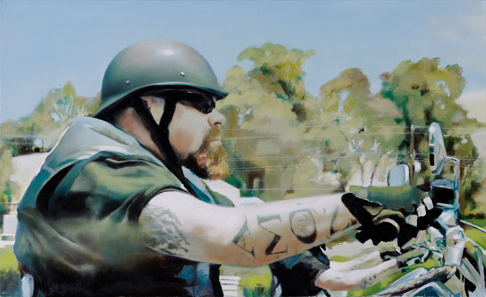 "biker 3   •  22"" x 36""  oil on canvas  2009"
