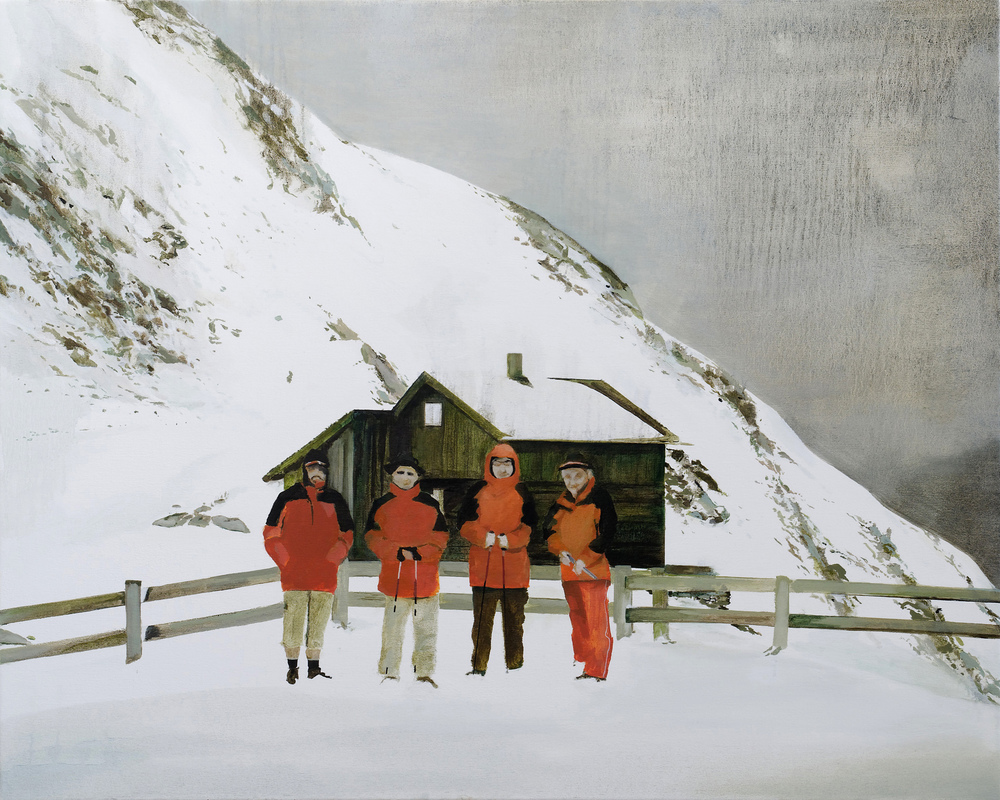 "katja's dad is on the left   •  36"" x 45""  oil on canvas  2009"