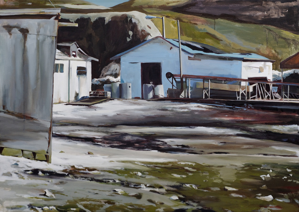"oyster farm   •  45"" x 64""  oil on canvas  2008"