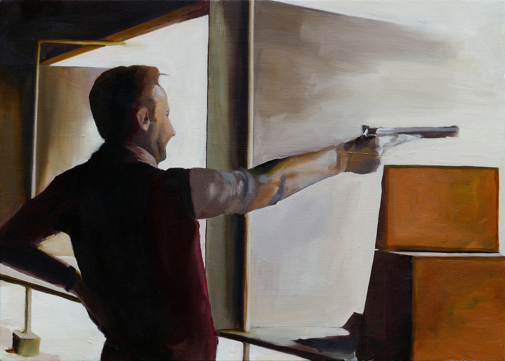 "shooting range   20"" x 28""  oil on canvas  2008"