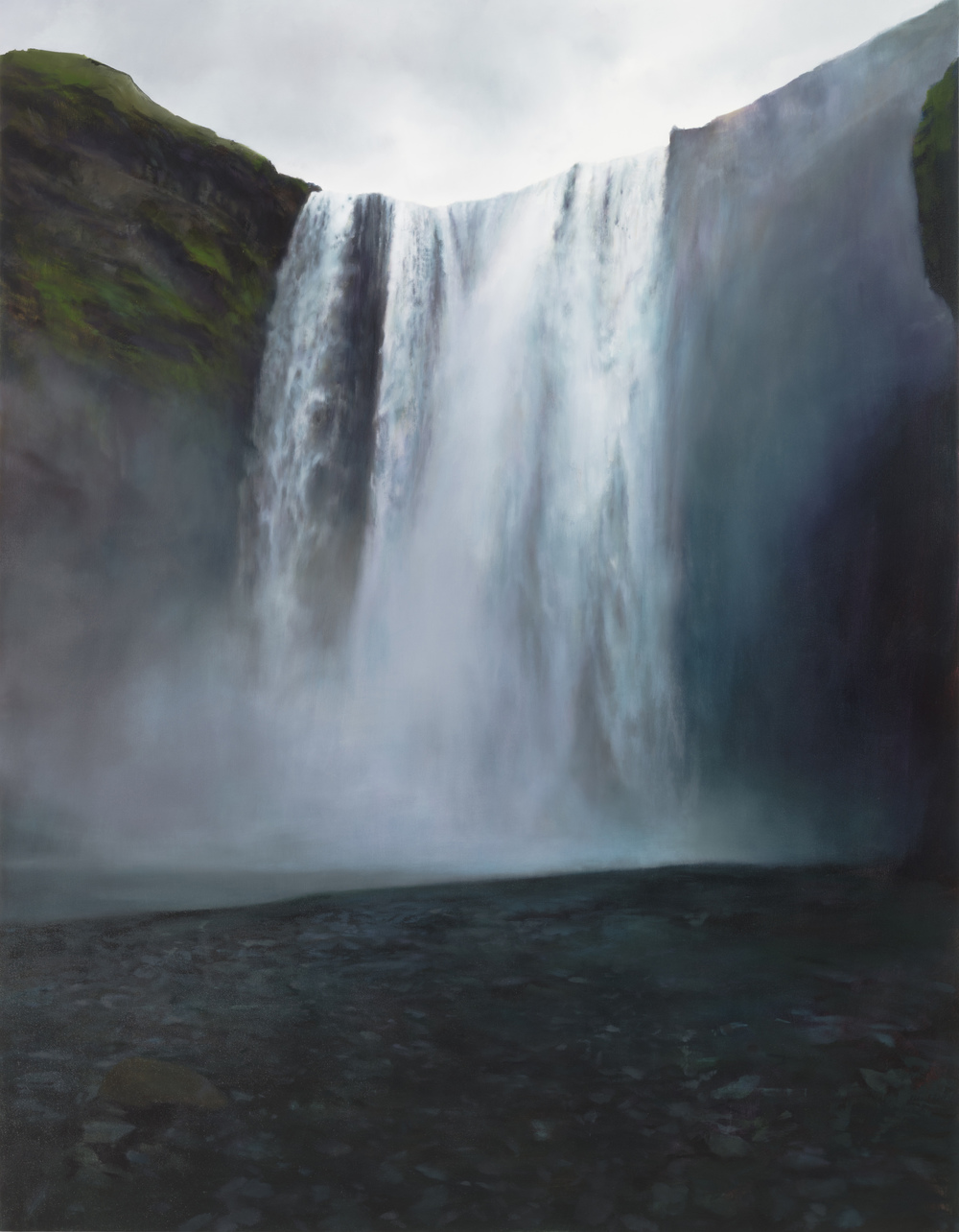 "skogafoss   •  72"" x 56""  oil on canvas  2014"