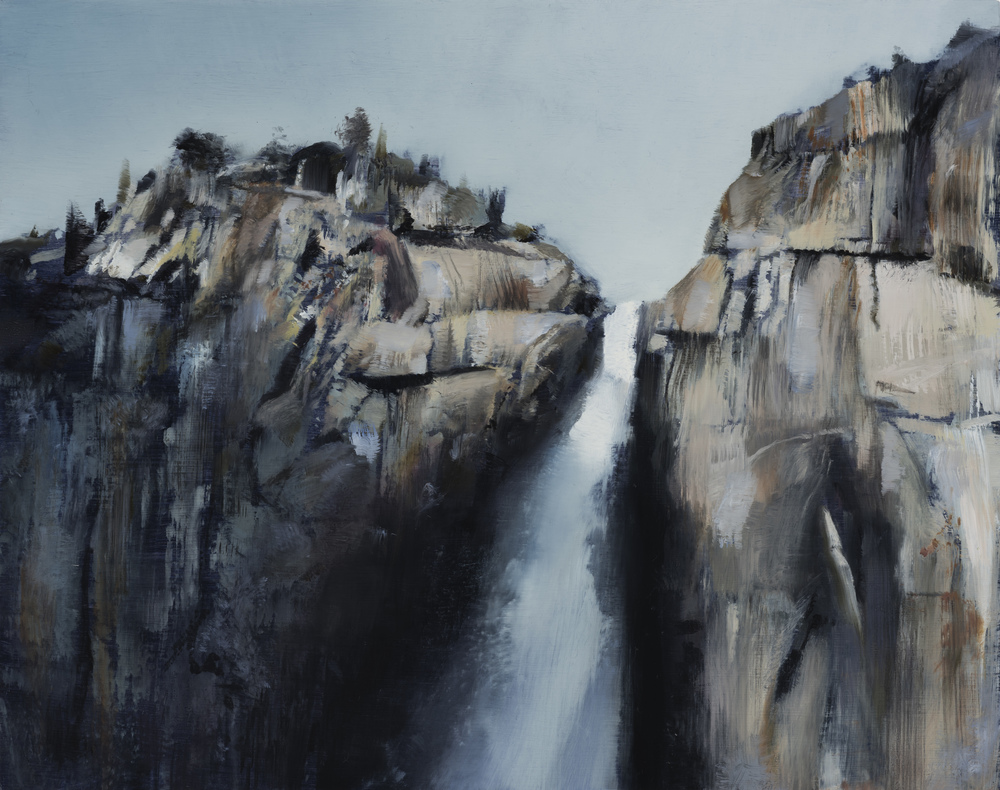"yosemite falls study   11"" x 14""  oil on panel  2016"