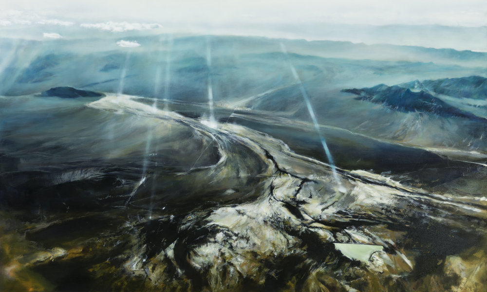 """death valley junction   30"""" x 60""""  oil on canvas  2016"""