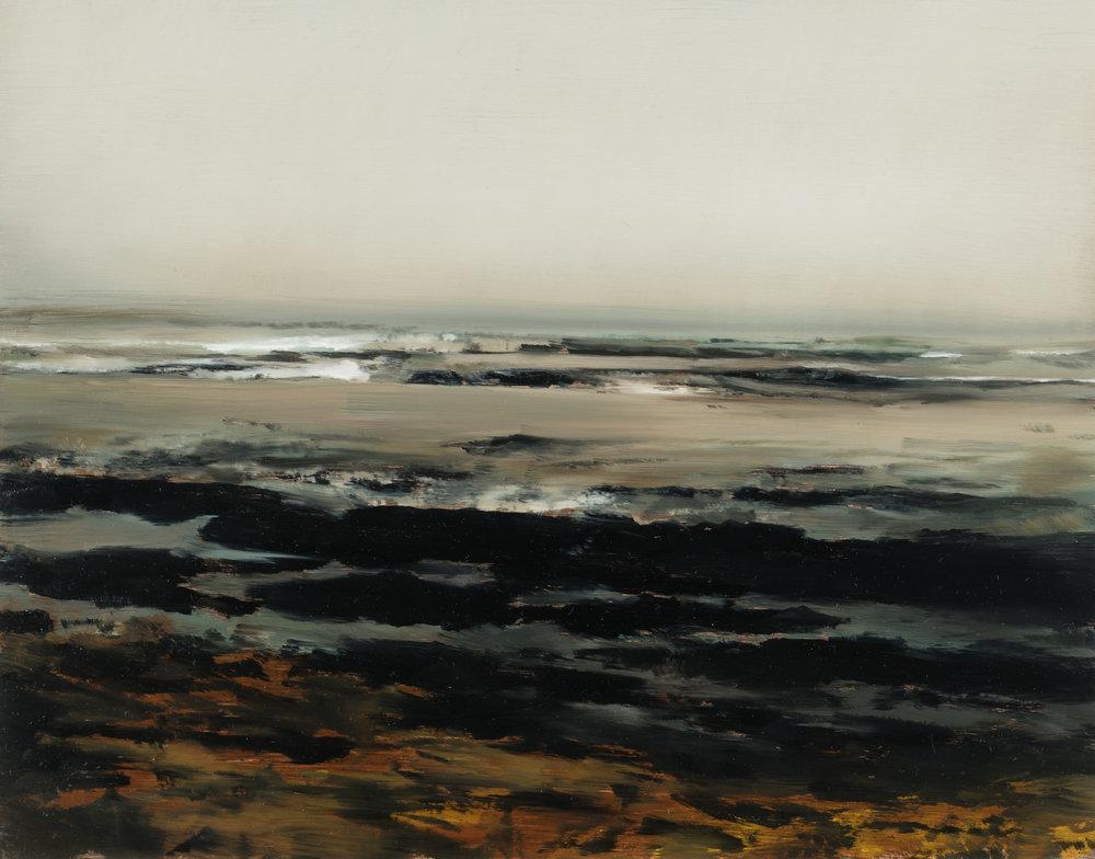 "agate beach study   11"" x 14""  oil on panel  2018"