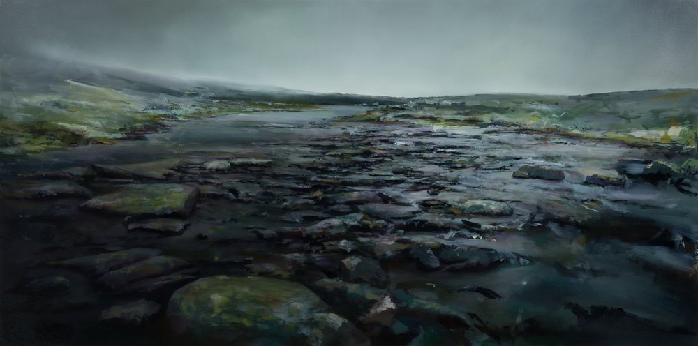 "under the rocks and stones   30"" x 60""  oil on canvas  2019"