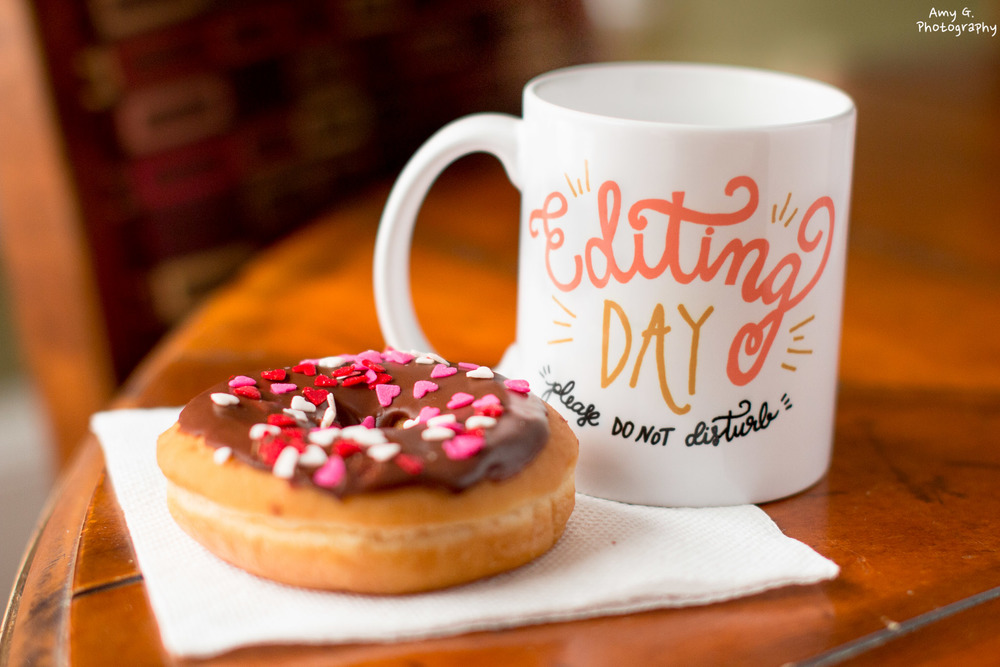 Valentines Day donut and a mug of coffee