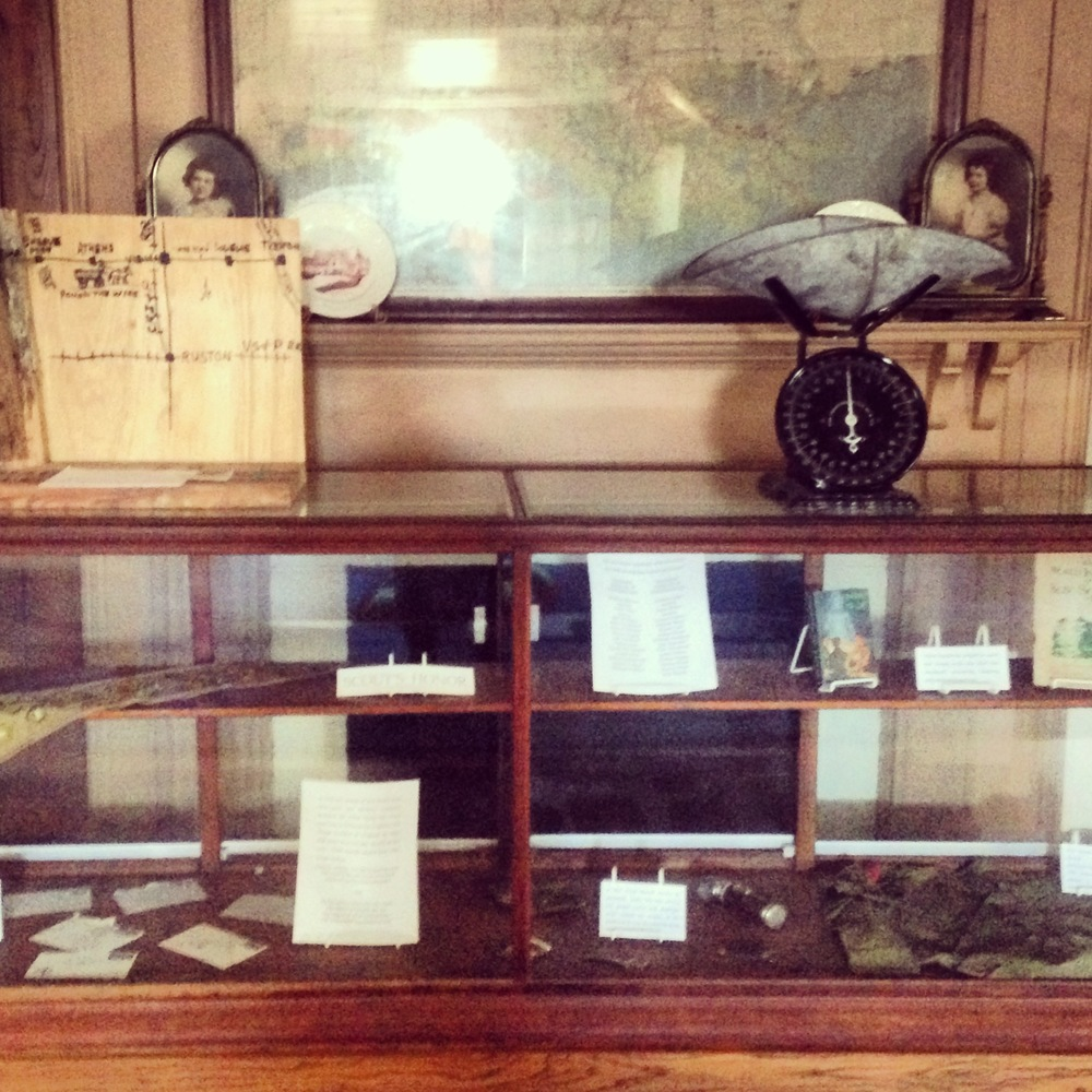 Cultural artifacts from the 1800s on display on the second floor of the museum.