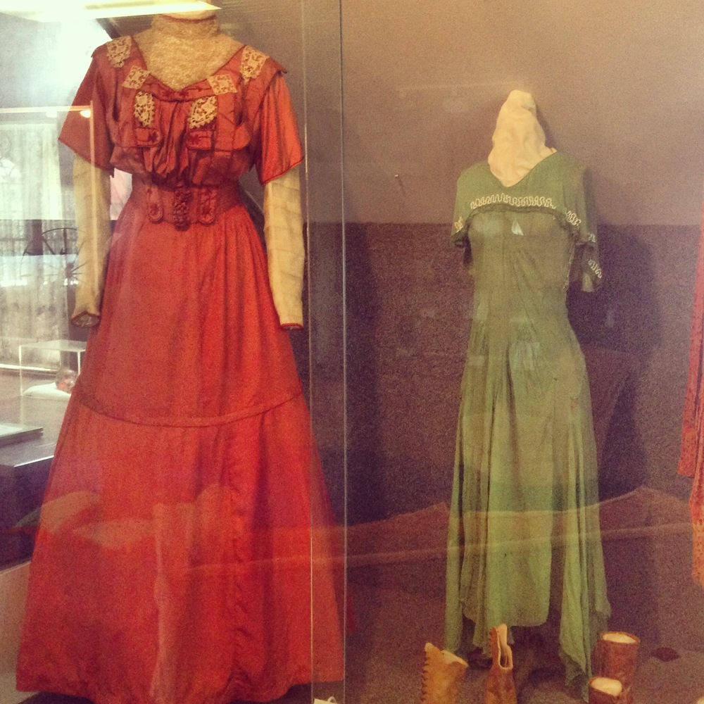 The museum's display cases contain vintage men's and women's clothing, including the 1902 trousseau of Mary Ann Warren, complete with hand-embroidered lingerie and corset, donated by her daughter, Mrs. Marvin Green, Sr.